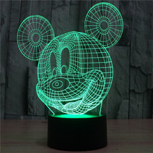 Creative Small 3D Bulbing Light toys  Lamp Bedside Lamp Mickey Mouse Cartoon Birthday Gift 7 color visual illusion LED lights