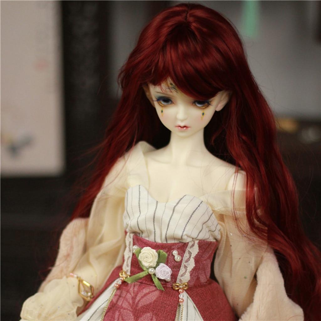 "New 1//8 Girl BJD SD Doll Wig Dollfie 5/"" DOD Big Baby Bjd Doll Wig Long Wine red"