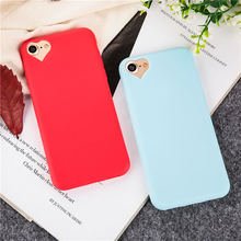 Candy colors Soft TPU silicone phone cases For iPhone 7 7Plus 8 8Plus back cover loving heart shape Camera hole with Dust plug