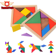 Mental Intelligence Development Tangram Wooden Jigsaw Puzzle Educational Toys for Kids Classic Jigsaw Puzzle Kids Preschool(China)