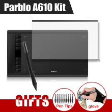 "Parblo A610 10x6"" Art Graphics Drawing Pen Tablet Tableta Grafica 5080LPI + Protective Film + Glove + 10 Pen Tips"