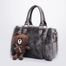 Fashion Winter Rabbit fur Crossbody Bag women Boston tote bags Bears Dolls brand messenger bags + leather clutch composite bags