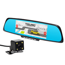 "Toguard 7"" Android 4.4 Full HD 1080P WiFi Car GPS Navigation Dual Lens Bluetooth Car DVR With Rearview Mirror RAM 1GB ROM 16GB"