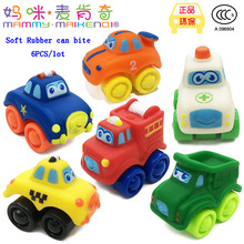 Baby toys diecasts toy vehicle 6PCS/lot Children Q-vertion mini slide car Scooter Soft rubber model car can bite kids toys gifts