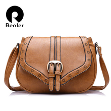 Realer hollow out women handbags fashion women saddle bag solid 8 colors optional bags high quality PU messenger bag(China)