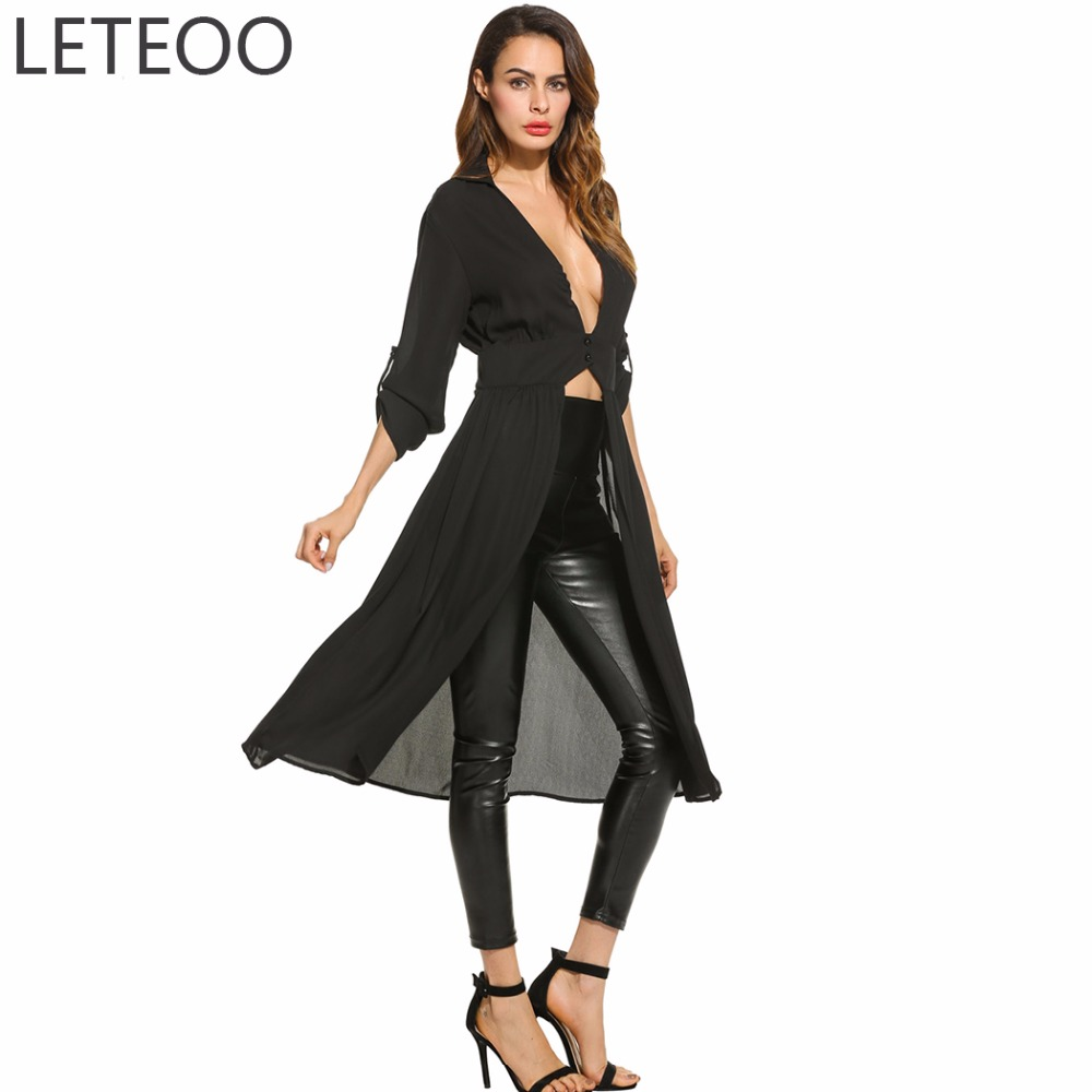 LETEOO Autumn 2017 Deep V Neck Long Chiffon Shirt Women Casual Shirts Long Sleeve Blouse Top Female Tunic Beach Kimono Cardigan(China)
