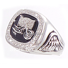 Fashion 925 sterling silver biker ring, mens biker style rings jewelry, motorcycle ring, free shipping