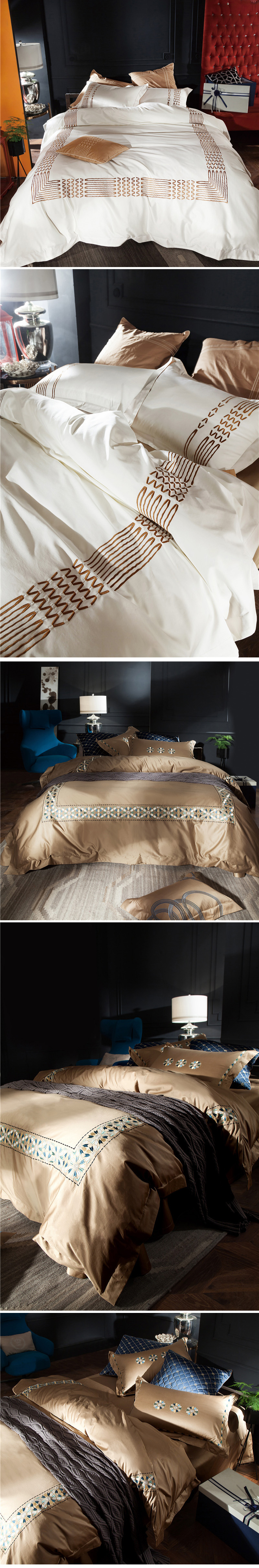 Luxury bedding sets 4pcs supima cotton duvet cover Chinese embroidery bed sheet home textile 5