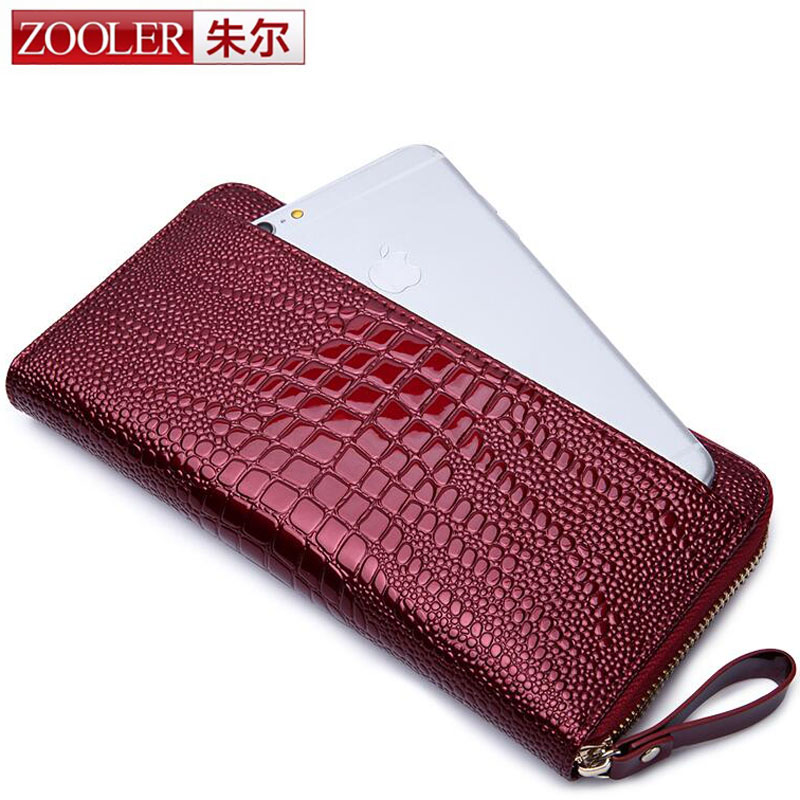 ZOOLER New Fashion Crocodile Women Wallets Genuine Leather Long Female Purse Designer Brand Clutch Lady Party Wallet Card Holder<br>