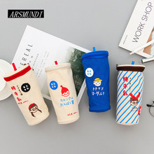 Big Milk Tea Shape Pencil Case Canvas School Supplies Bts Stationery School Pencil Box Cute Pencilcase Pencil Bag Pen Case(China)