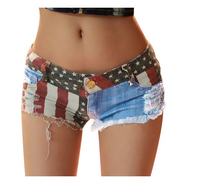 Hot Women Shorts American US Flag Printed Mini Shorts Jeans Sexy Denim Pants Low Waist Tassel Hollow Out Hole ShortsОдежда и ак�е��уары<br><br><br>Aliexpress