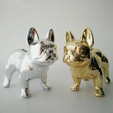 2 Colors Plating Cute Bull Dog Money Boxes Imitation Dog Piggy Bank Living Room Cabinet Ornaments Decorative Art Ceramic Crafts(China)