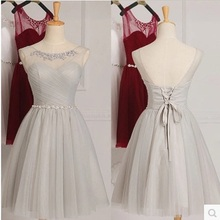 2017 New Fashion Dress Women Cross Straps Short Sleeves Lace Mesh Ball Gown Backless Bandage Sexy Wedding Bridesmaids Dress(China)
