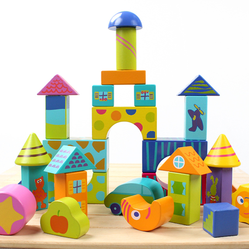 50pcs Kids wooden Colorful blocks building blocks educational early learning Gift<br><br>Aliexpress