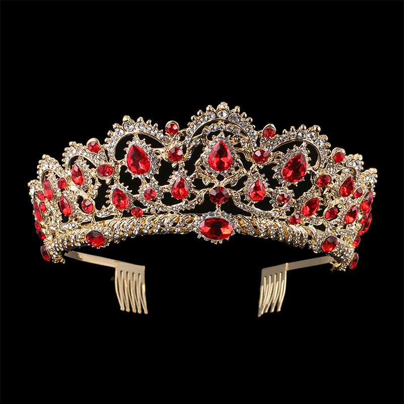 KMVEXO European Drop Green Red Crystal Tiaras Vintage Gold Rhinestone Pageant Crowns With Comb Baroque Wedding Hair Accessories 6