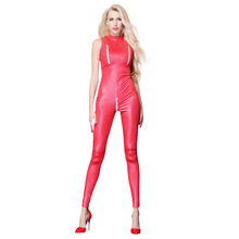 Buy Sexy Catwomen Faux Leather Latex Zentai Catsuit Smooth Wetlook Jumpsuit Open Crotch Zipper Elastic PU Leather Bodysuit Playsuit