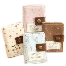 ID Card Holder Visa Business Card Holder Cotton Fabric Cute Floral Female Credit Gift Card Wallet Women Passport Cover