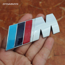 2pcs Car Styling Solid Sticker 3 M power Series Logo Emblem Badge Chrom Decal 1 3 4 5 6 7 E Z X M2 M3 M4 M5 M6 Mline For BMW M(China)