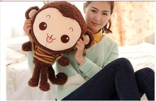 lovely stuffed monkey animal plush toys monkey toy doll with stripe cloth birthday gift dark coffee about 50cm(China)