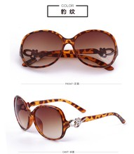 New arrival leopard black red purple Sunglasses Women Fashion Brand Designer Flower Decorate Large Frame Sun Glasses wholesale