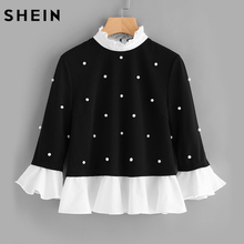 SHEIN Contrast Frill Trim Pearl Embellished Top Black and White Contrast Collar Three Quarter Length Flare Sleeve Blouse(China)