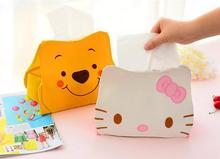 PU Hello KITTY Winnie the Pooh Cute Home Car Tissue Case Box Container Towel Napkin Papers BAG Holder storage BOX orginazer GYH(China)