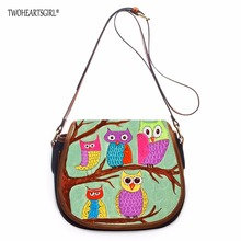 TWOHEARTSGIRL Owl Designer Women Shoulder Messenger Bags Female PU Leather Crossbody Teen Girls Ladies Carry on Bags with Zipper