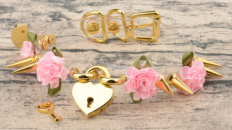Lolita Cute Girl 100% Hand Crafted Silver Gold Spiked Lock Heart Collar With Key Rose Flowers Spikes Choker Transparent Necklace 9