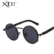 XIU Steampunk Men Women Sunglasses Round Metal Retro Vintage Sunglasses Brand Designer Men's Glasses UV400