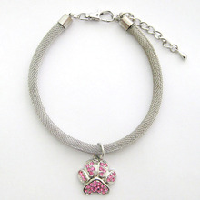 Pet Dog Chains Necklace Collar Rhinestones Paw Charm Pendant Pet Puppy Jewelry