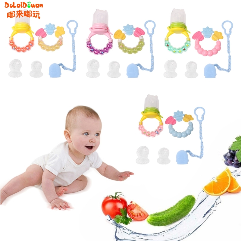 Set Baby Care Teether Fruits Vegetables Feeder Chain Silicone Biting Soother chew toy