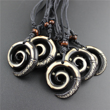 Hot Black Wax Cord Wooden Beads Handmade Retro Tibetan yak bone necklace Special Signs Amulet Pendant Wholesale Jewelry