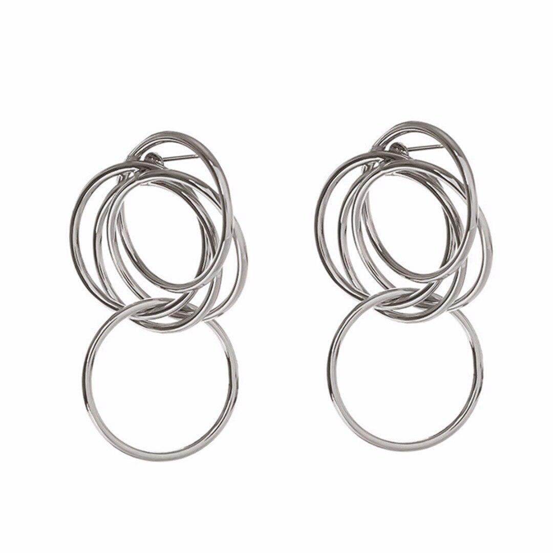 Punk Multi Circle Ear Stud Earring Brincos Silver Gold Link Circle Hollow Metal Earring Shellhard Trendy Jewelry For Women Girls