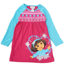 Lovely Girl's knitting dress Spring Autumn Wear Children  Clothing Princess Dora Girl Long sleeve Dress