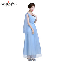 SEBOWEL Summer Light Blue Women Wedding Party Dresses Tradictional Long Maxi Mesh Lace Dress Formal Wear