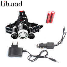 led Headlight 9000 Lumen chips 3x XM-L T6 headlamp LED Lamp Flashlight head torch Headlamp battery Recharge CAR charger(China)