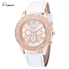 Geneva Watch Women Rhinestone Crystal Dress Bracelet Clock Candy Color High Quality PU Leather Strap Relogio Feminino