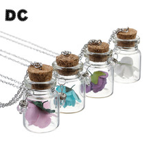 DC Fashion Metal Silver Color Rolo Chain Flower Glass Wish Bottle Charms Pendant Necklace for Best Friend Jewelry Accessories