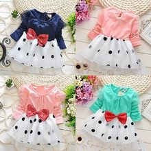2017 Fancy Adorable Toddler Baby Girls Princess Bowknot Dot Summer Dress Clothes 6M-6T