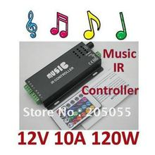 12v 10A 120W Music IR Controller Audio Sound Driver Activated IR Controller strip light LED controller For RGB LED Strips- Black