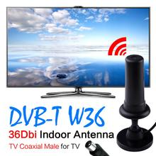 Hot sale black 36dbi tv antenna indoor digital tv antena booster DVDB-TV Male antennas para sinal celular Free Shipping EL5935