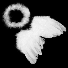 Baby Infant White Fluff Feather Angel Wings Halo Baby Cupid Cosplay Photography Props Costumes Kit for 0-6 Months Old Baby