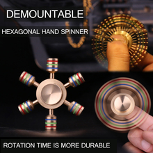 Hexagonal Hand Spinner 100% Brass fidget toy 2017 New Metal fidget spinner edc finger Spinner Hand relieves stress