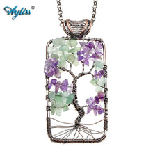 Ayliss Hot Tree of Life Natural Stone Purple/Pink Quartz Aventurine Opalite Fashion Pendant Necklace For Women Girl Para Collar