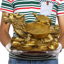 SCY 31 CM # town House Protection # office home efficacious protective Talisman Money Drawing Dragon Turtle FENG SHUI Brass stat(China)