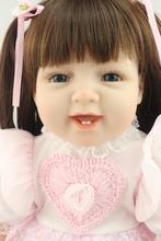 "55cm Solid Silicone Reborn Baby Girl Doll 22"" Vinyl Body Girl Brinquedos Bonecas Princess Doll Lifelike Children Play House Toys(China)"