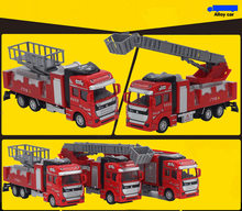 Best Sale 1:32 Alloy water spray fire ladder truck fire engine climbing car truck toy birthday gift collection decoration model