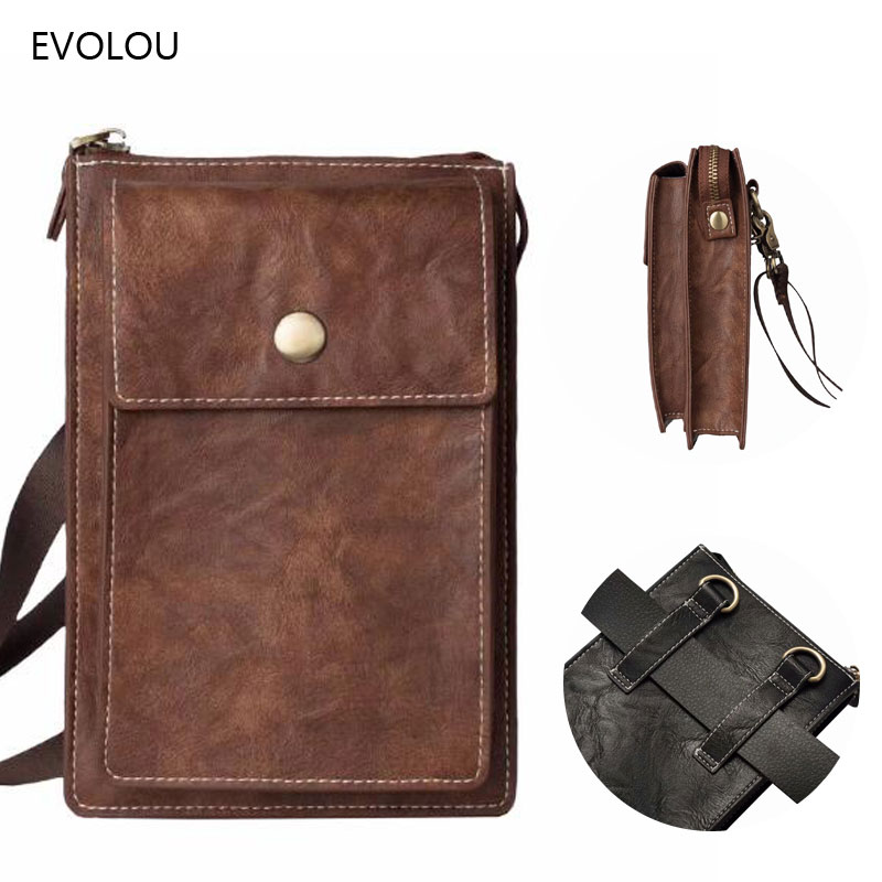 Vintage Universal Belt Clip Phone Bag for Iphone X 8 Plus Waist Pack Travel Wallets Leather Case Xiaomi Redmi S2 Mix 2S 7 Cover