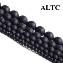 Natural Stone beads 4-14mm Round Matte black Beads Dull Polish Onyx carnelian Black Stone Beads for jewelry making(China)