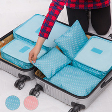 6pcs blue/pink Women Men Travel Polka Dot Storage Bag Luggage Clothes Tidy Storage Pouch Portable Organizer Case